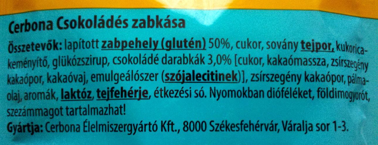 Cerbona Csokoládés zabkása - Ingredients - en