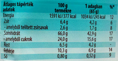 Cerbona Csokoládés zabkása - Nutrition facts - en