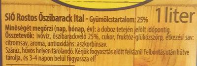 Sio rostos őszibarack ital - Ingredients - hu