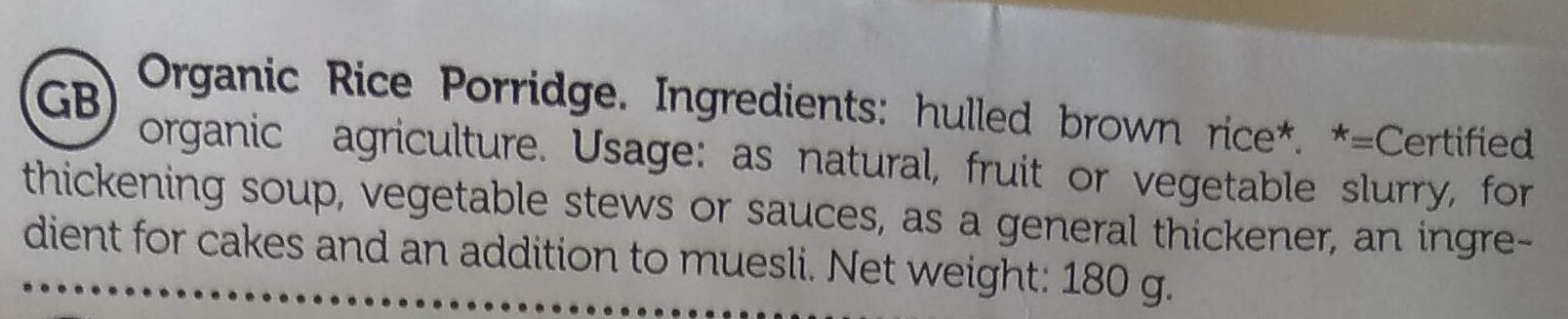 Rice porridge - Ingrédients - en