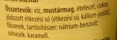Mustár - Ingrédients