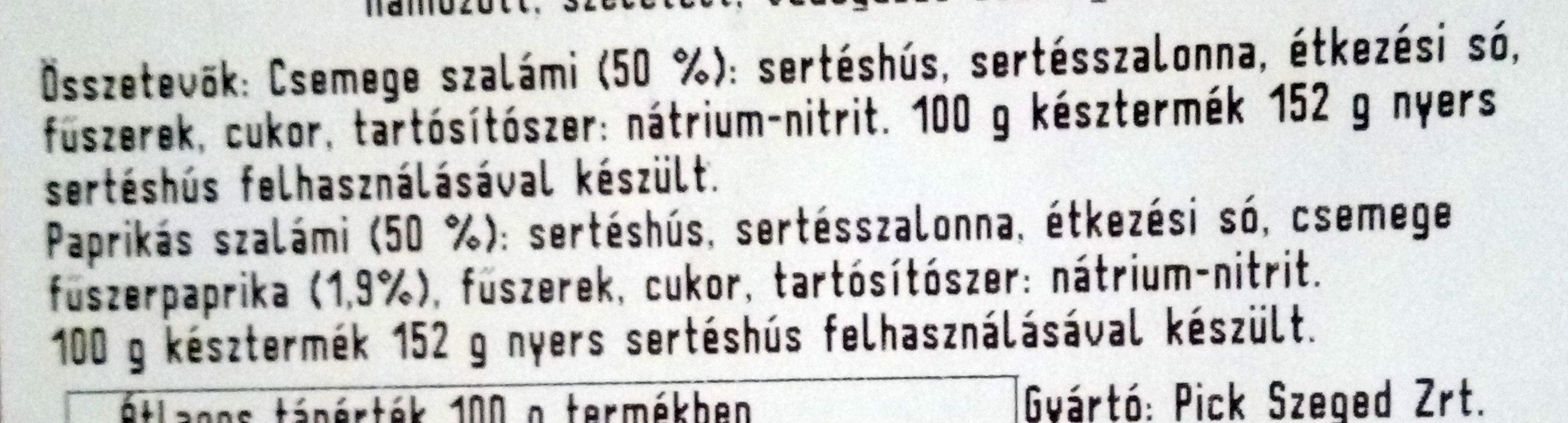 Csemege és paprika szalámi mix - Ingrédients - hu