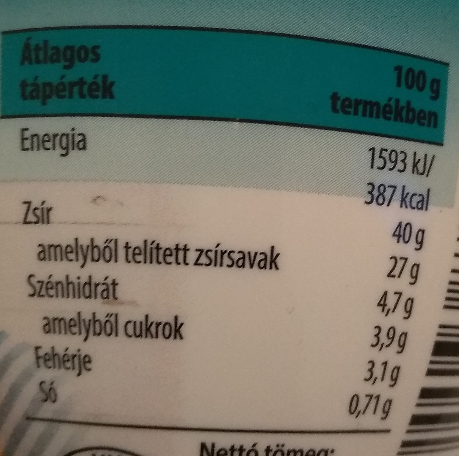 Márványos vajkrém - Informations nutritionnelles - hu