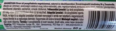 Magnézium Pezsgőtabletta - Ingrédients - hu