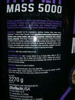 Biotechusa Hyper Mass 5000 2,27KG Vanilla - Ingrédients