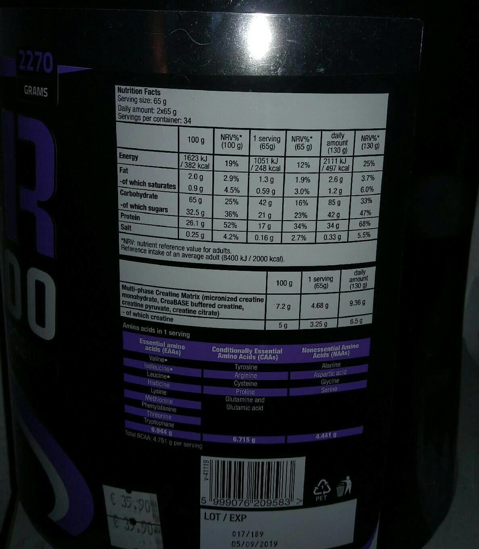 Biotechusa Hyper Mass 5000 2,27KG Vanilla - Informations nutritionnelles