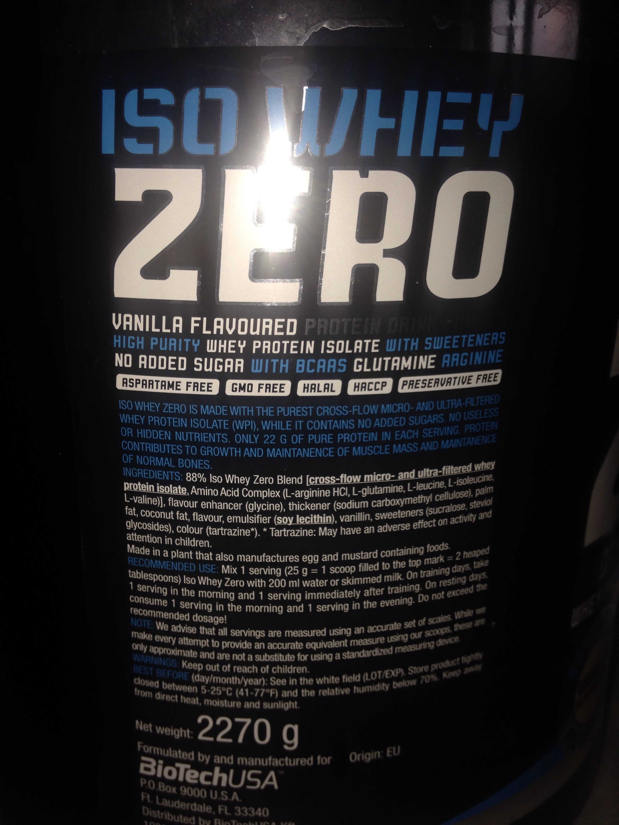 100% Whey Isolate - Ingrédients