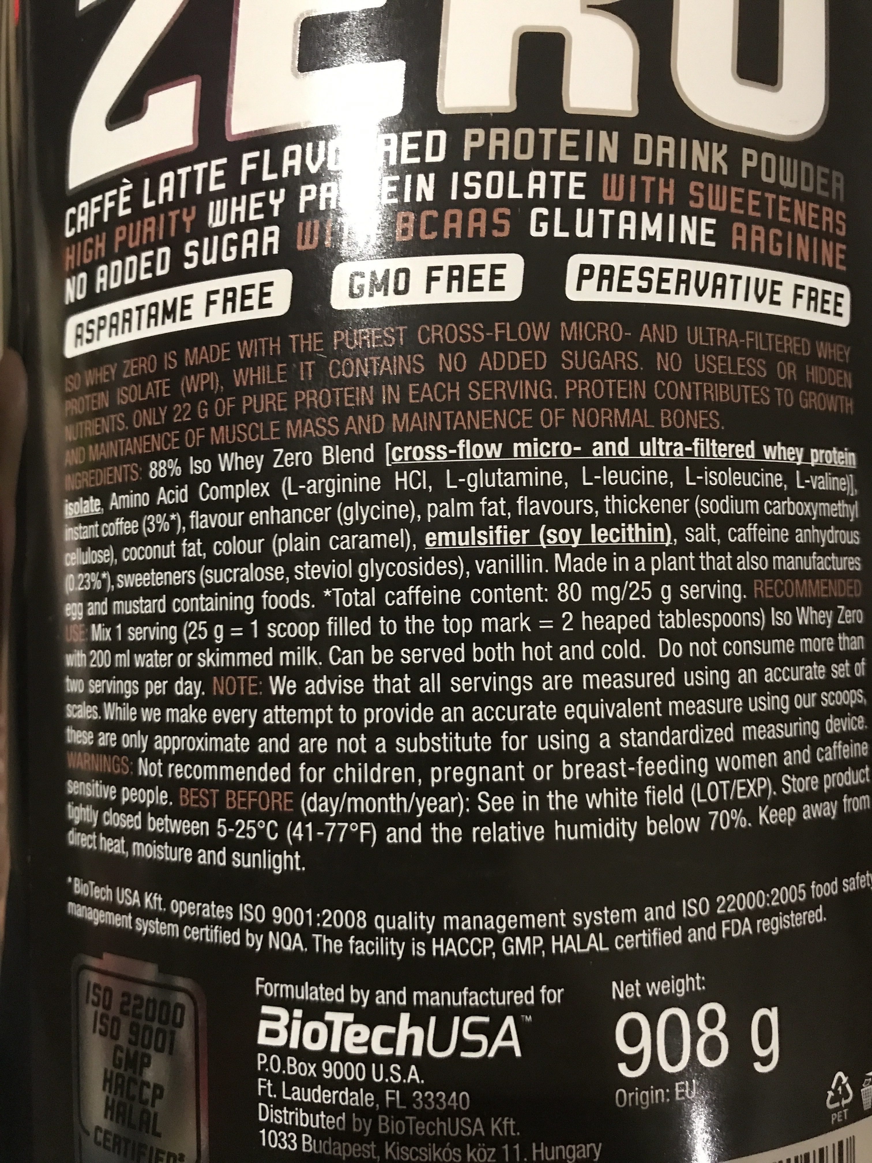 Iso Whey Zero (caffe Latte) - Ingrédients