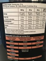 Iso Whey Zero Coffee - Informations nutritionnelles