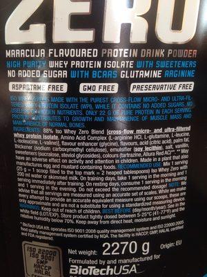 Protein drink - Ingrédients