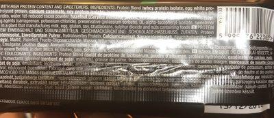 barre chocolat noisette zero bar - Ingredientes - fr