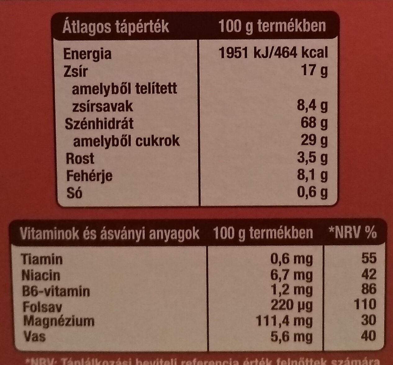 Reggelizo keksz - Informations nutritionnelles - hu