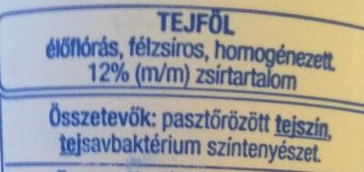 Tejföl - Ingrédients - hu