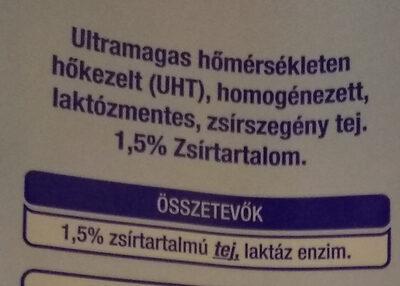 Laktózmentes UHT tej 1,5% - Ingrédients