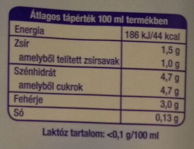 Laktózmentes UHT tej 1,5% - Informations nutritionnelles
