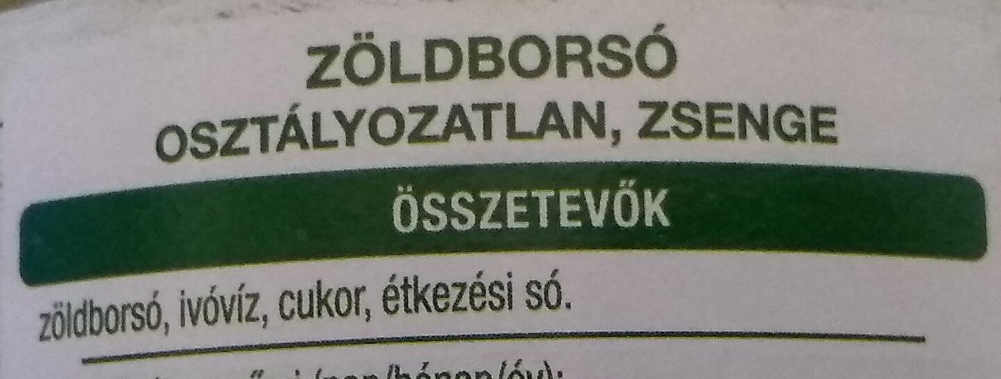 Zöldborsó - Ingrédients - hu