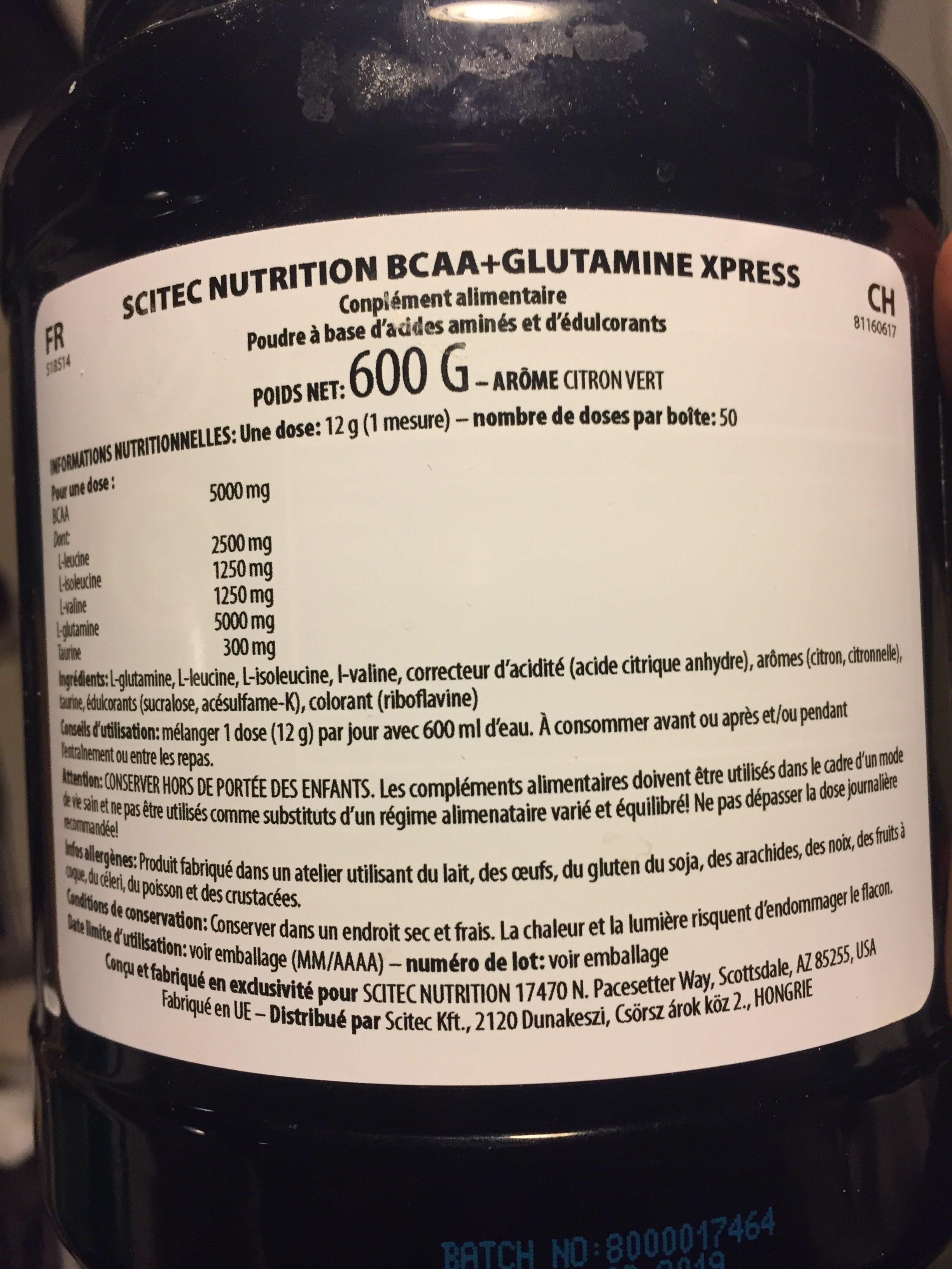 Scitec Nutrition Bcaa + Glutamin Xpress 600G Merken - Ingredients - fr