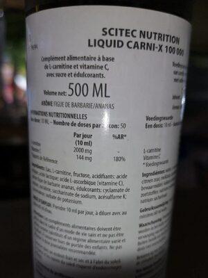 Liquid carnitine -x 100000mg - Voedingswaarden - fr