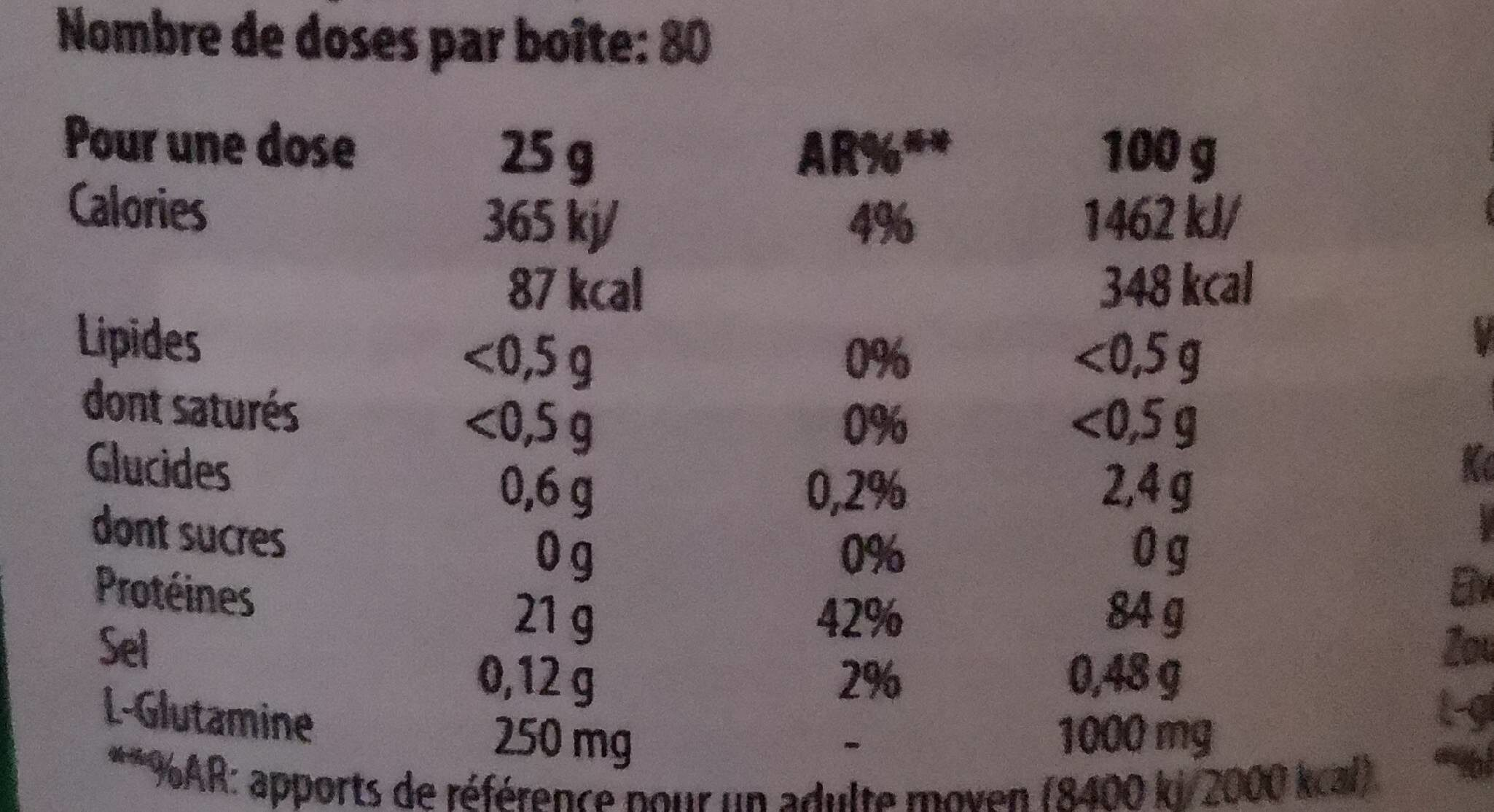 100 whey isolate - Informations nutritionnelles - fr