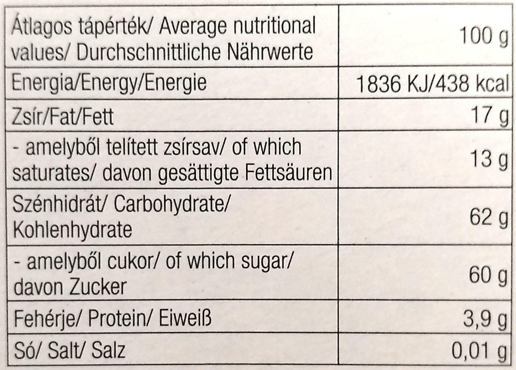 Pálinkás étcsokoládé, szilva - Informations nutritionnelles - hu