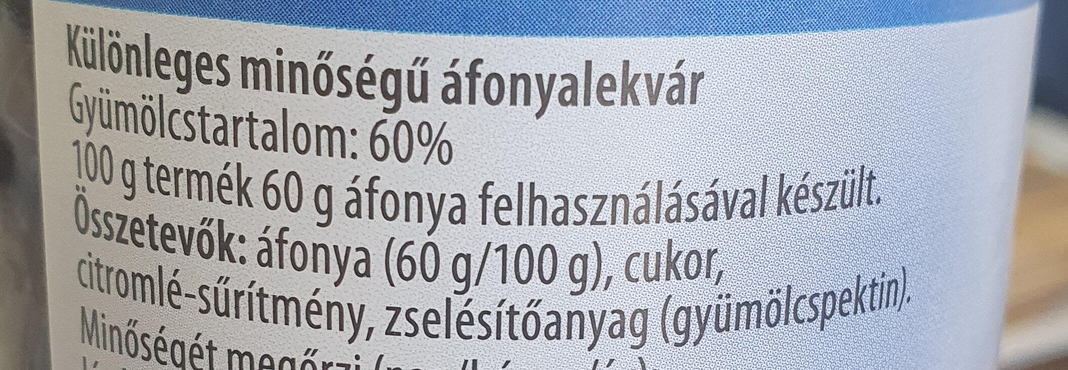 Áfonyalekvár - Ingredients - hu