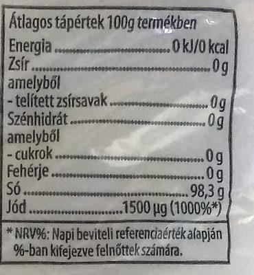 Jódozott Só - Informations nutritionnelles - hu