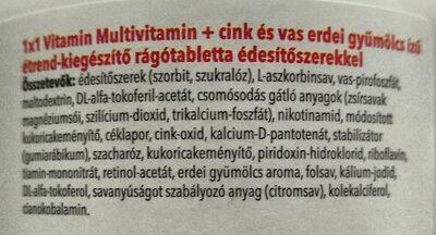 Multivitamin + cink és vas - Ingredients - hu