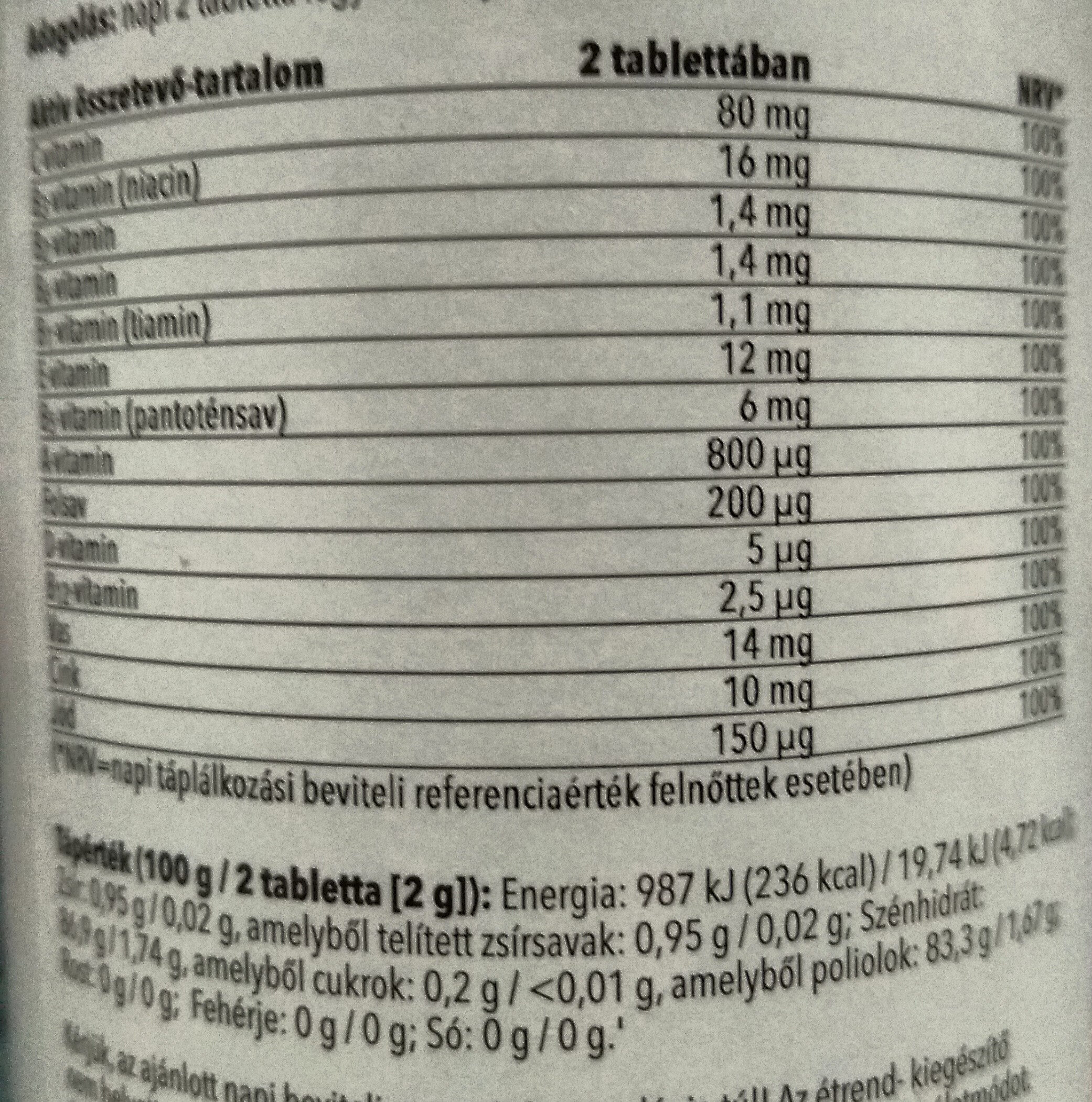 Multivitamin + cink és vas - Nutrition facts - hu