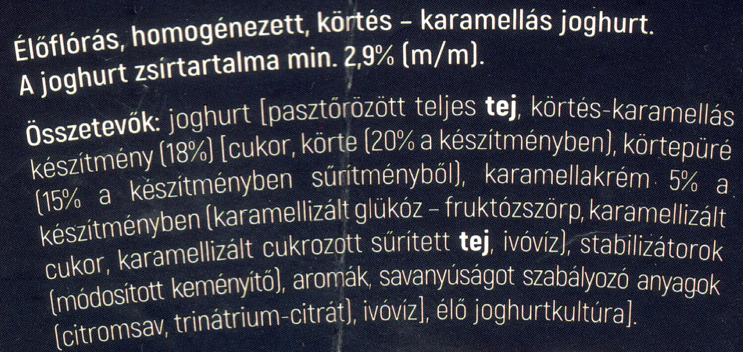 Tejmanufaktúra Nature körtés - karamellás joghurt - Ingredienti - hu