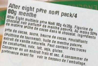 AfterEight Noël - Ingrédients - fr