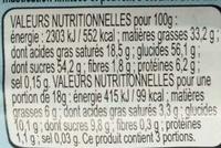 Lapin en chocolat Klapperhase - Informations nutritionnelles