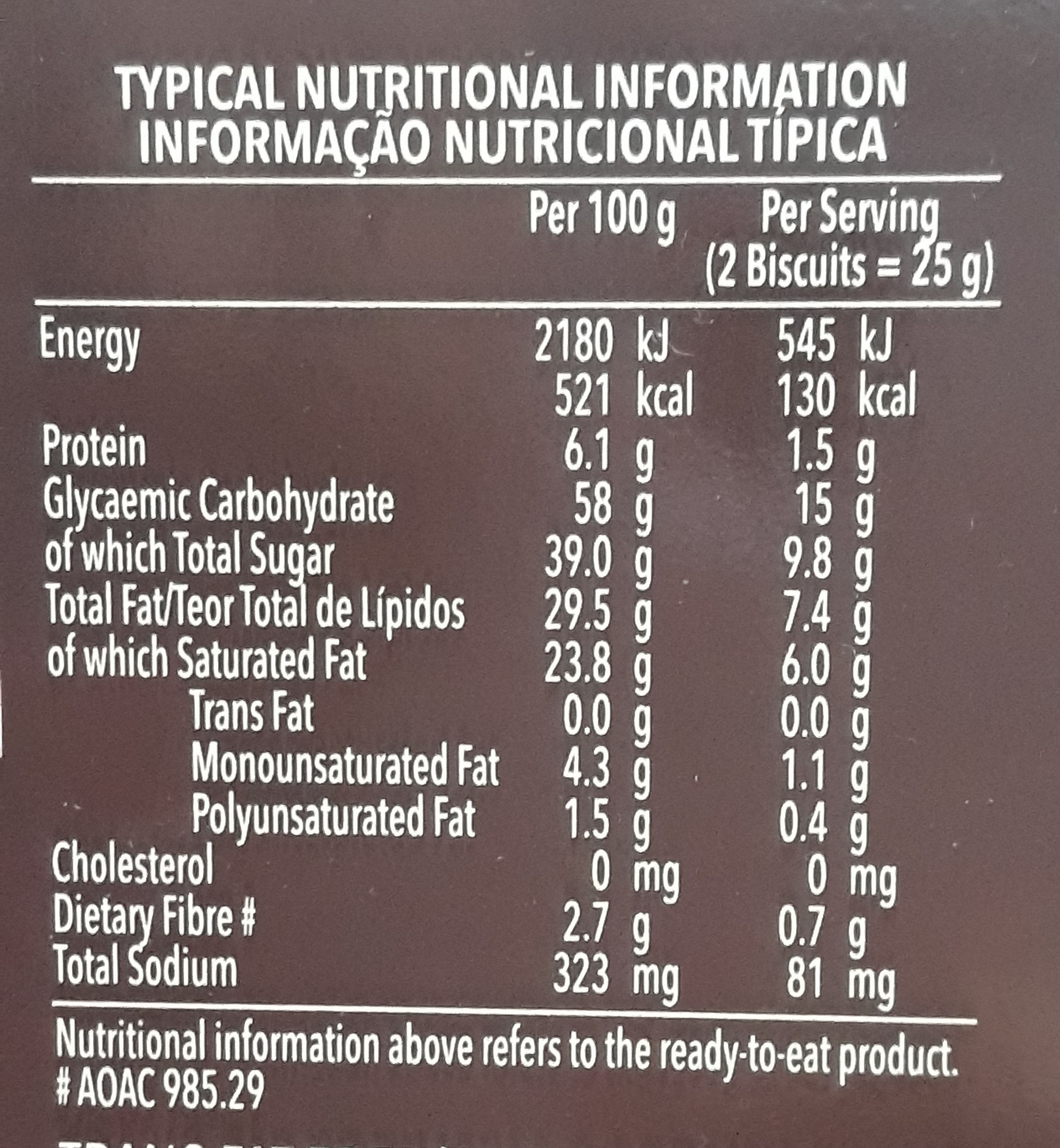 Bakers Choc Kits Biscuits 200 GR - Nutrition facts