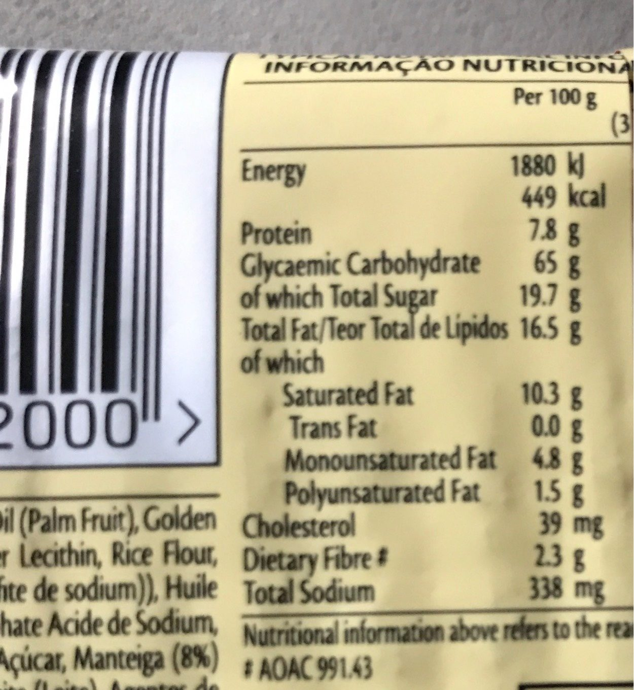 Bakers Tennis Biscuits - Nutrition facts - fr