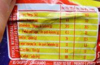 Laduma Lunch Bar Camury - Nutrition facts