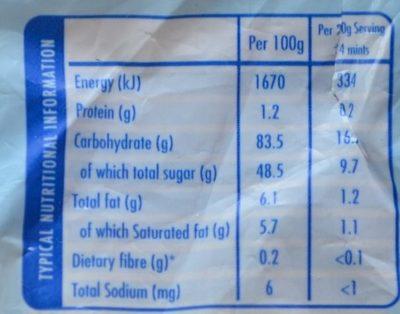 Endearmints Original - Nutrition facts
