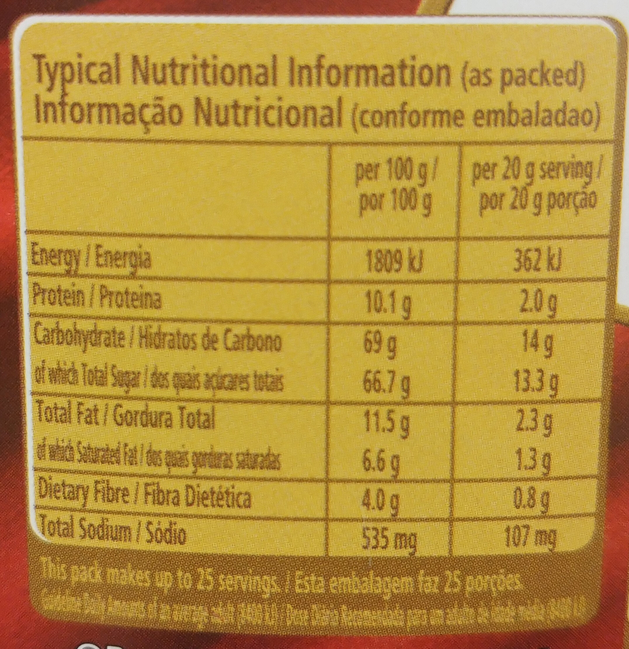 Nestle Hot Chocolate - Nutrition facts - en