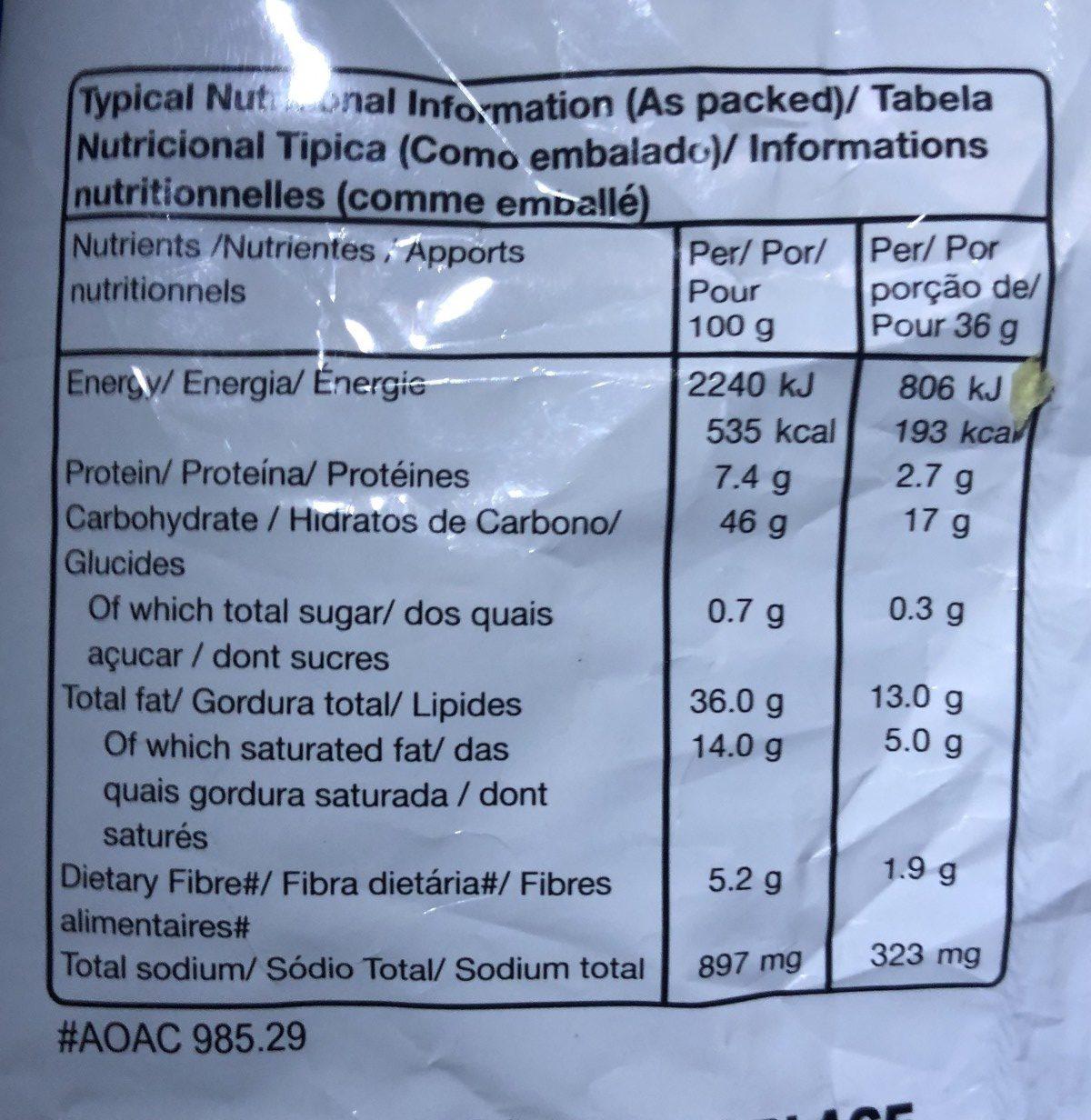 Potato Chips Salt & Vinegar Flavour - Nutrition facts - en