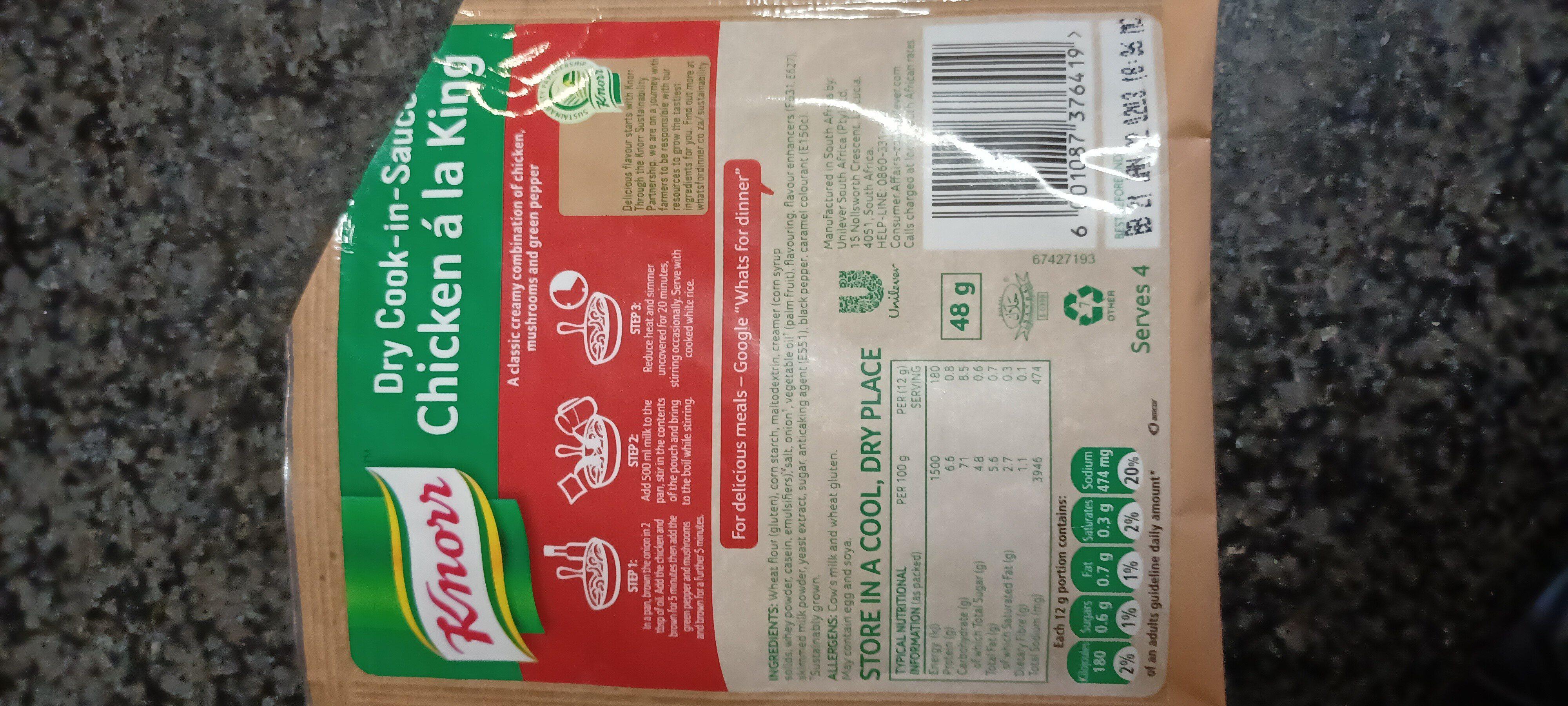 Knor Chicken a la king - Ingredienti - en