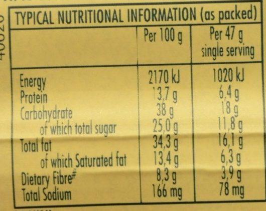 Peanut Butter Energy Bar - Voedingswaarden - fr