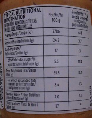 Crunchy peanut butter - Valori nutrizionali - en