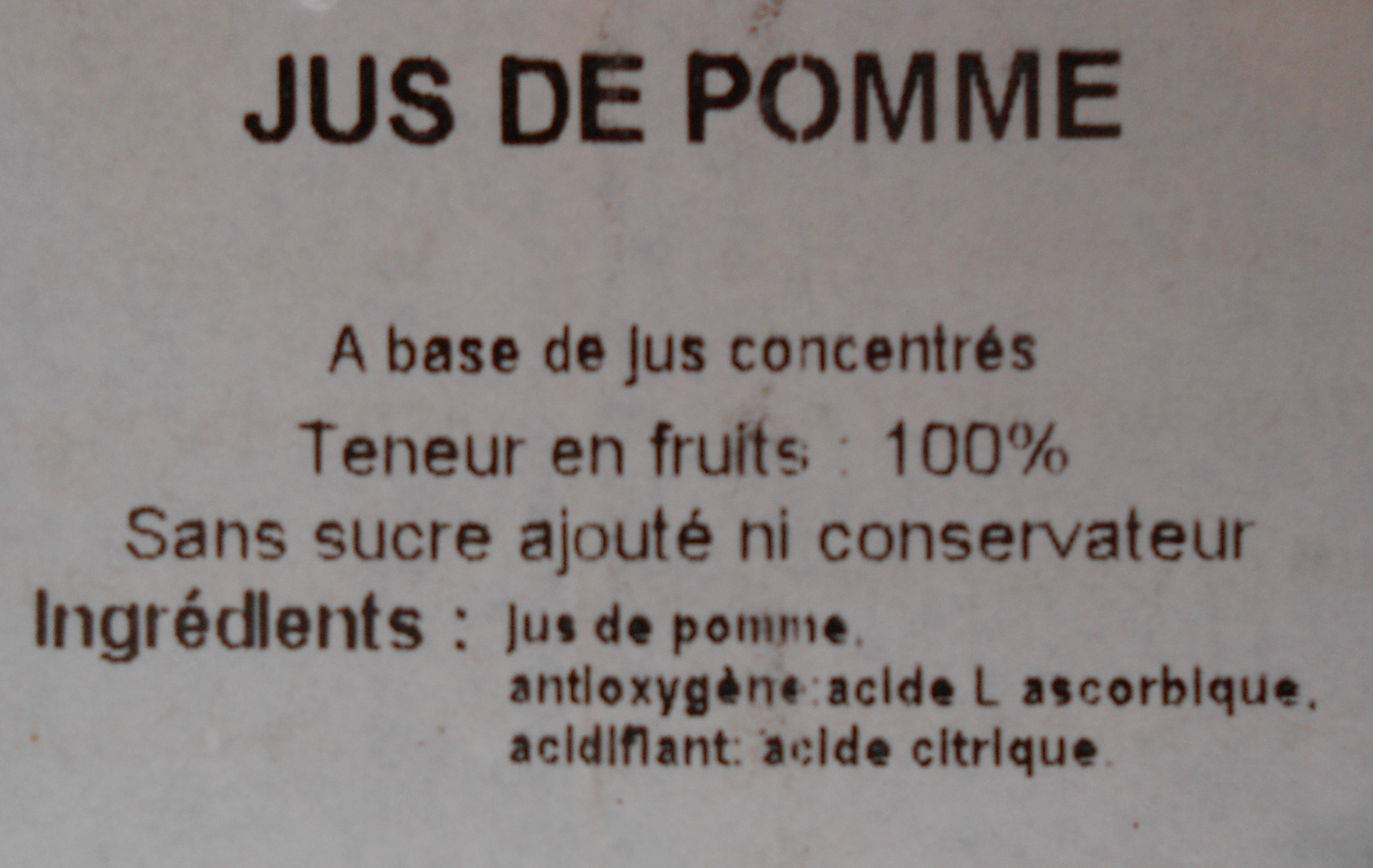 100 % Juice Apple - Ingredients - fr