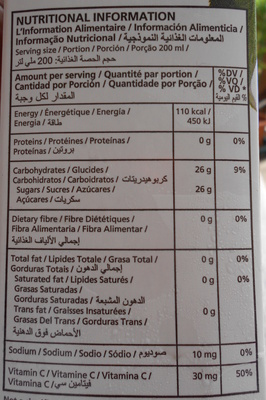 100 % Juice Apple - Nutrition facts - fr