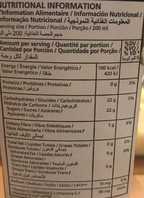 100% Juice Blend Goyave - Informations nutritionnelles