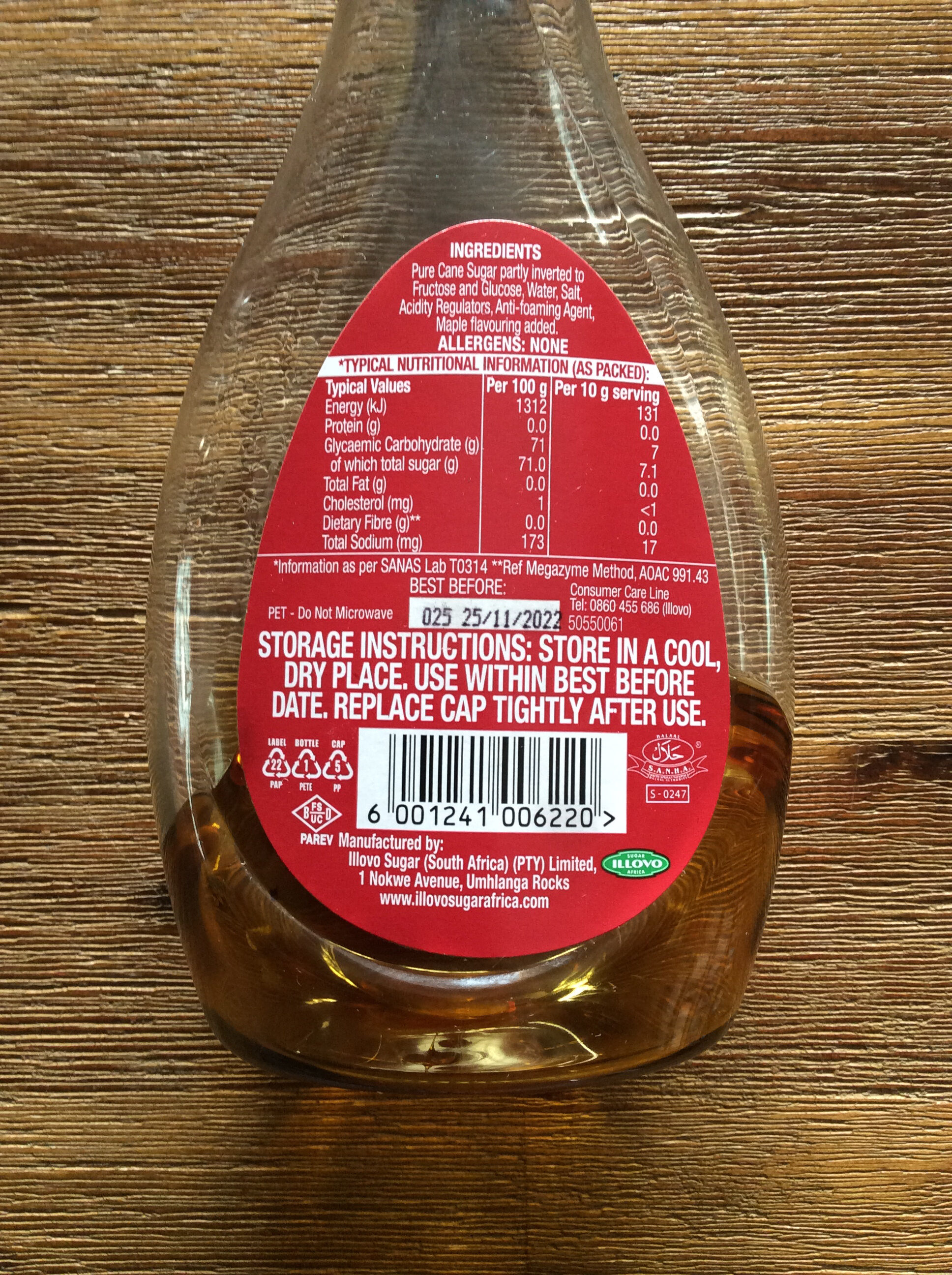 ILLOVO Maple Flavoured Syrup - Nutrition facts - en