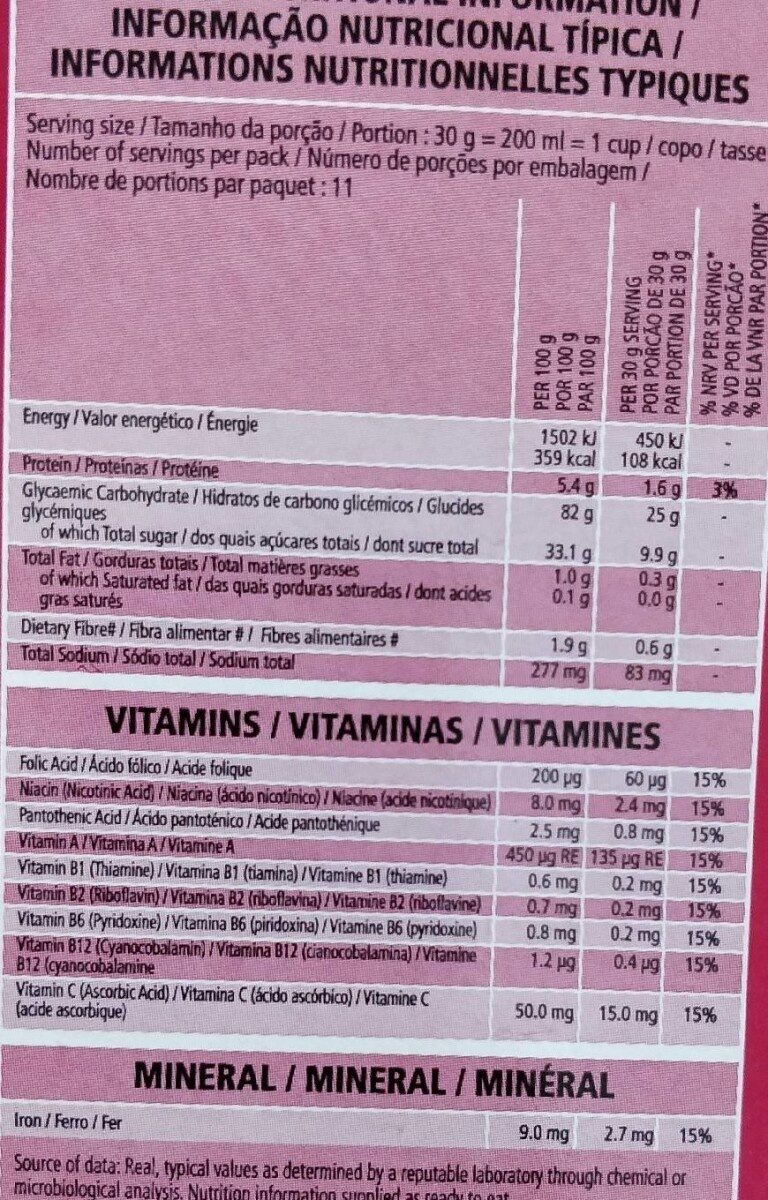 Starwberry pops - Informations nutritionnelles - fr