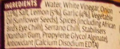 Nando's Garlic Peri Peri Sauce 135G - Ingredients - en