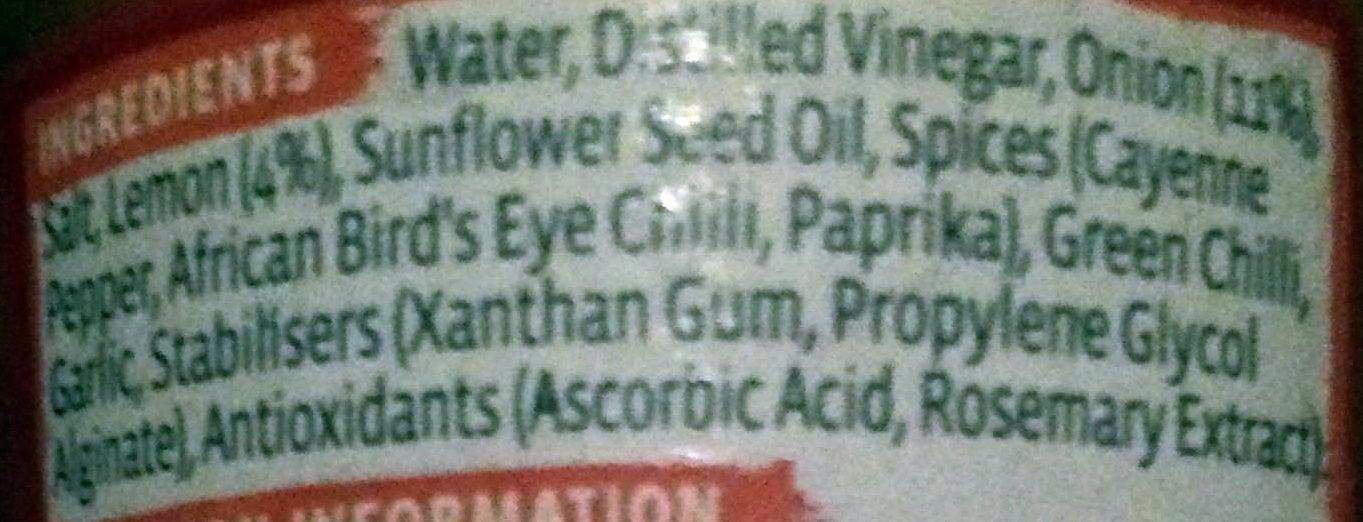 Peri-peri sauce - medium - Ingrédients