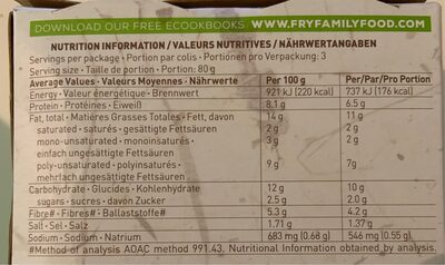 Rice Protein & Chia Nuggets - Informations nutritionnelles