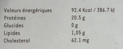 Autruche rôti tendre - Informations nutritionnelles - fr