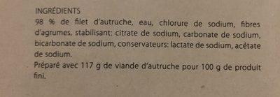 Pave filet d'autruche - Ingrediënten